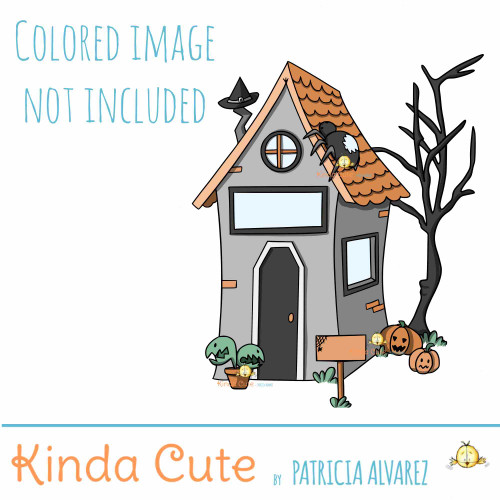 Creepy House Digital Stamp