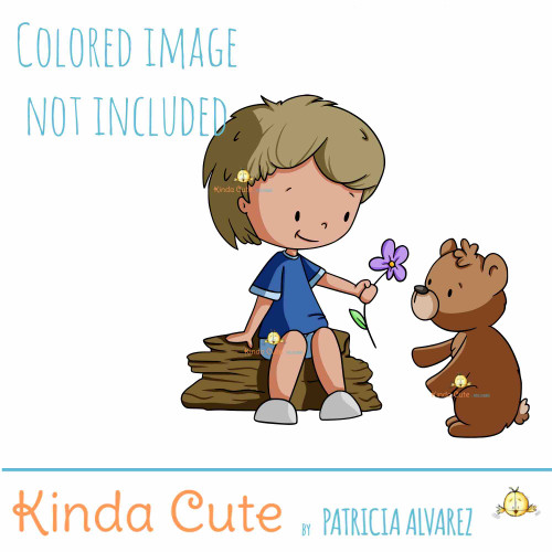 Boy and Bear Digital Stamp