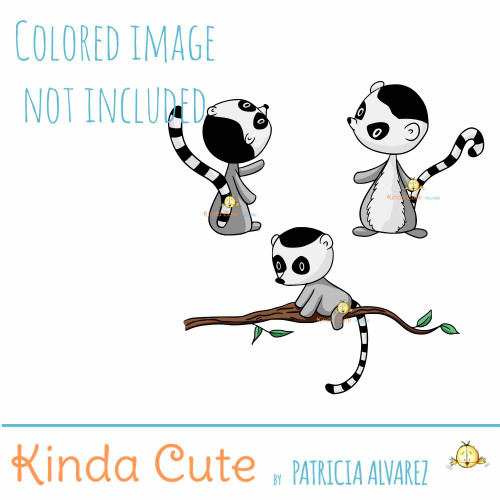 Ring Tailed Lemur Digital Stamp Set