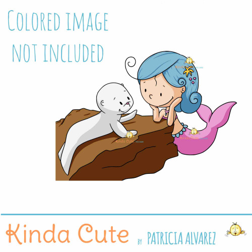 Mermaid Chat with Seal Digital Stamp