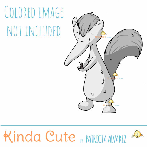 Anteater with Ant Digital Stamp