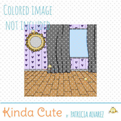 Window and Curtains Room Background Digital Stamp