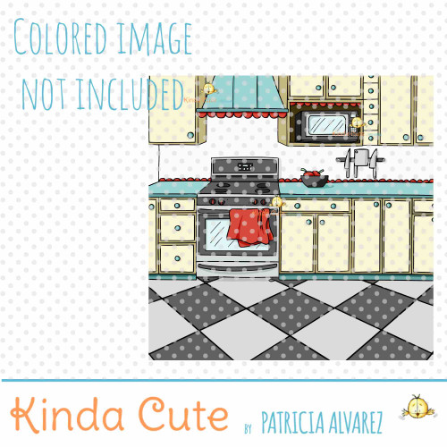 Kitchen Background Digital Stamp