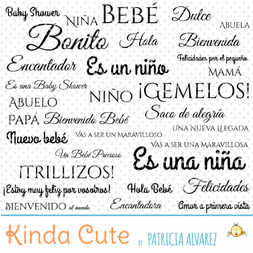 Baby Sentiments Basics in Spanish Digital Stamp Set