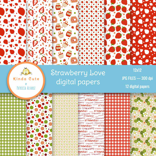 Strawberry Love Digital Paper Pack