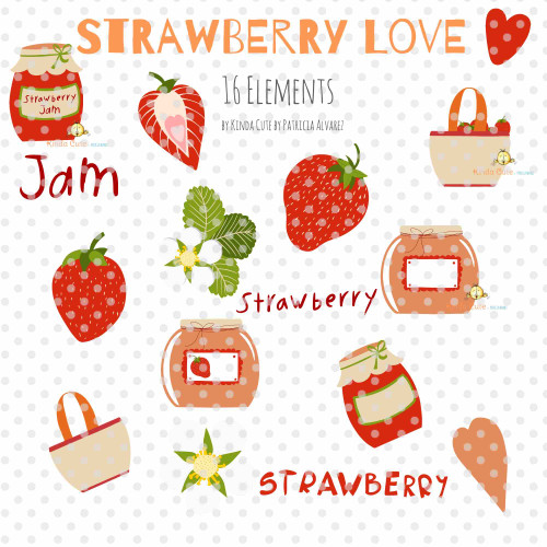 Strawberry Love Digital Clipart