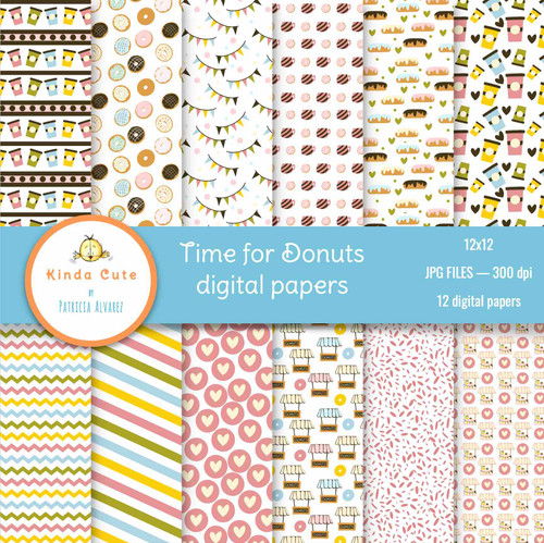 Time for Donuts Digital Paper Pack