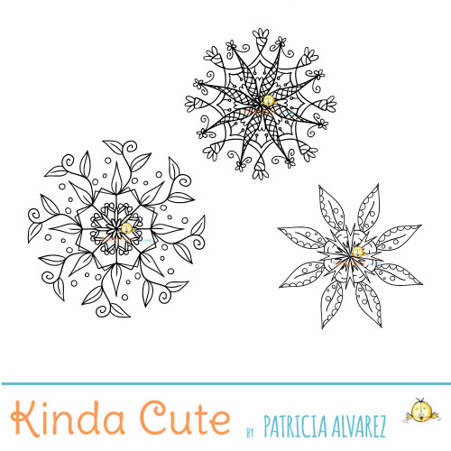 Little Flower Mandalas Digital Stamp Set
