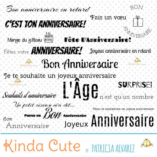 Birthday Sentiments Basics in French Digital Stamp Set