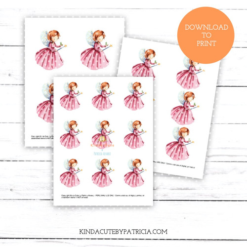 Fairy in Pink Dress with Frog Colored Printable Pages