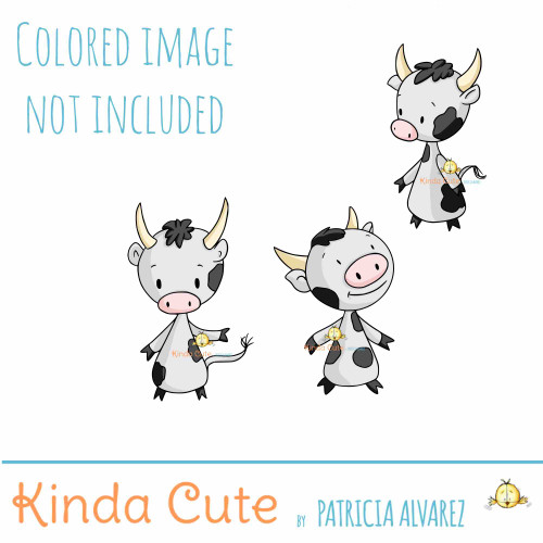 Cow digital stamp set