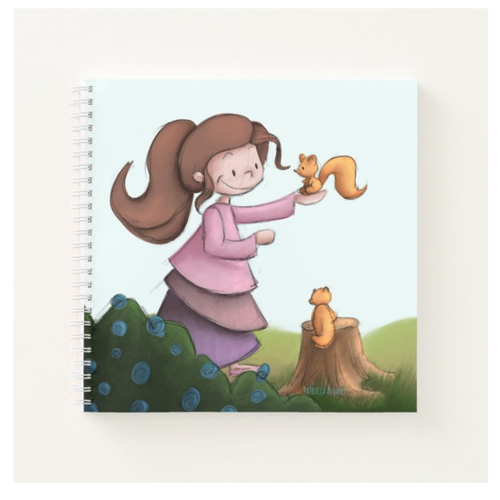 Notebook with a girl and squirrels