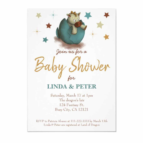 Sweet baby dinosaur neutral Baby Shower invitation