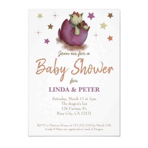 Dinosaur baby shower invitation for baby girl