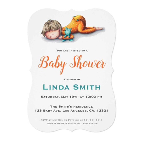 Cute Baby Sleeping with Toy Baby Shower Invitation