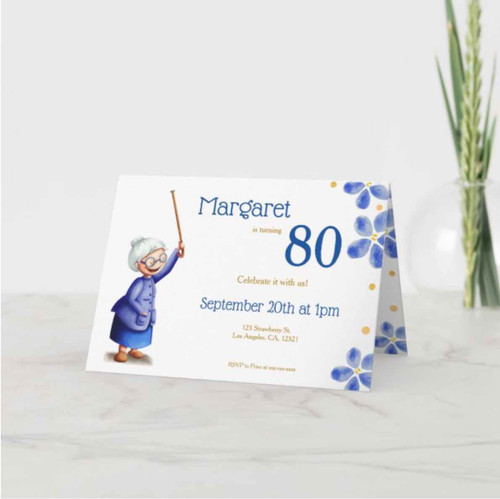 Eighty birthday woman with cane floral invitation