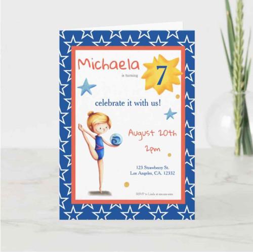 Blue rhythmic gymnastics girl with ball and stars invitation