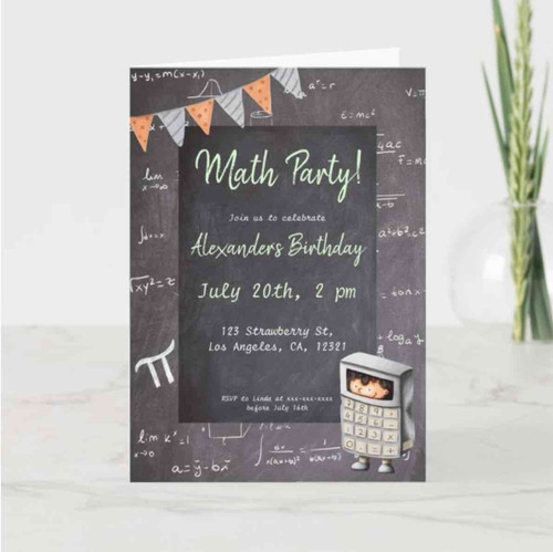Cute blackboard chalk math calculator invitation