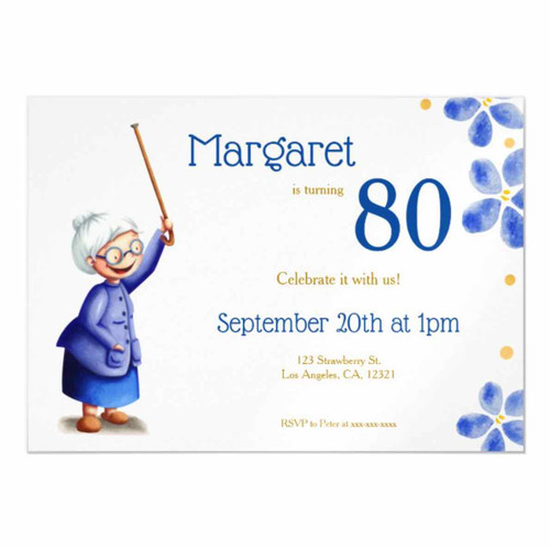 Cute grandmother with cane 80th birthday magnetic invitation
