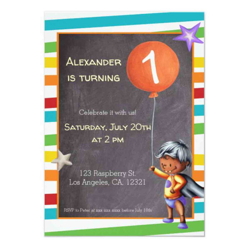 First Birthday Baby in Diapers Superhero Colorful Invitation