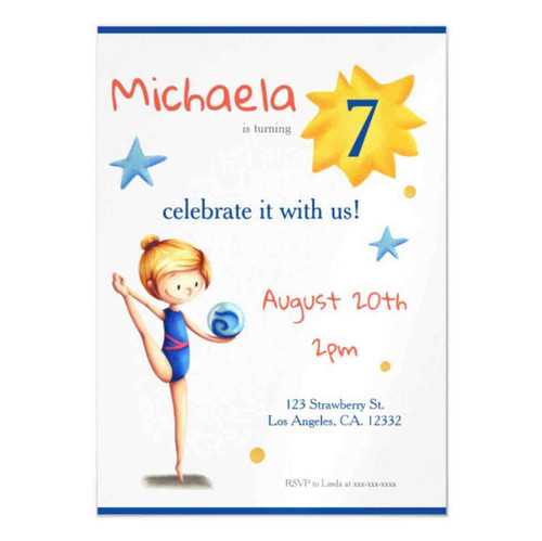 White and blue cute rhythmic gymnast illustrated magnetic invitation