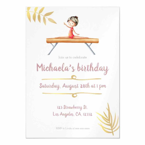 Elegant pink and gold gymnastics themed magnetic invitation