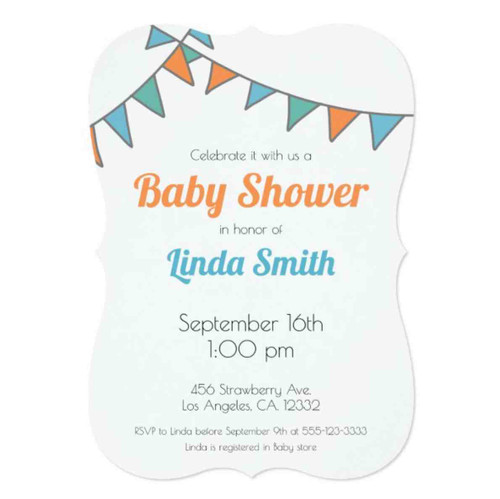 Minimalist Orange and Blue Garland Baby Shower Invitation