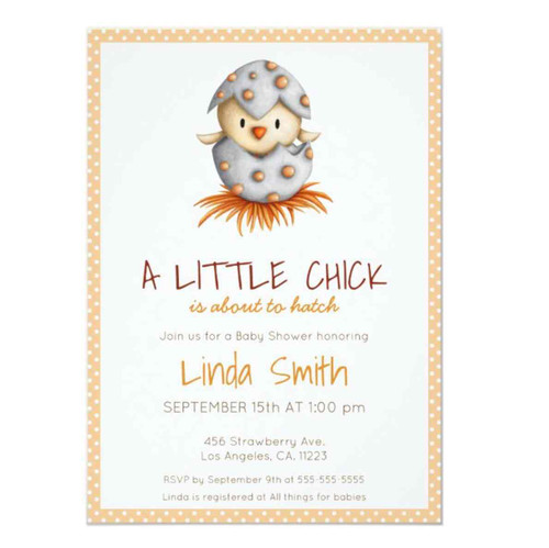 Little chick neutral baby shower invitation