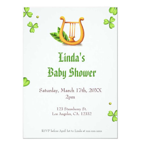 Irish Golden Harp Neutral Baby Shower Invitation
