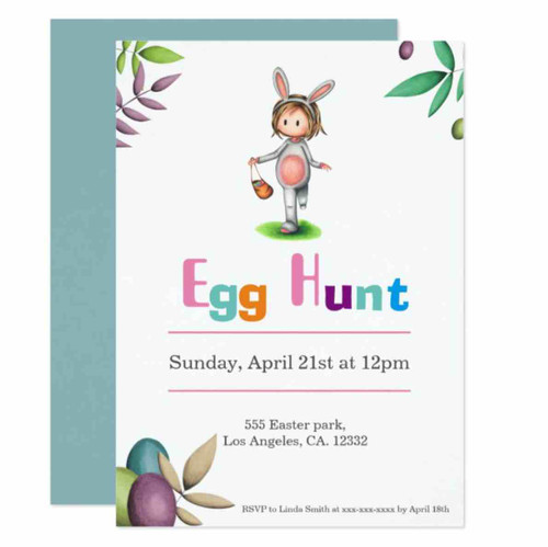Easter Egg Hunt Girl Bunny Costume Invitation