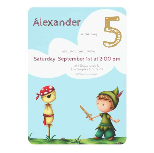 Peter Pan birthday invitation