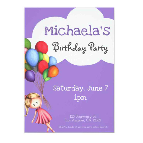 Girl with Balloons Purple Birthday Invitation