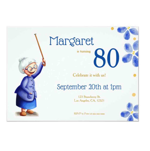 Cute Navy and White Old woman with cane floral Invitation
