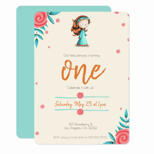 Little princess birthday invitation. Teal and pink Invitation