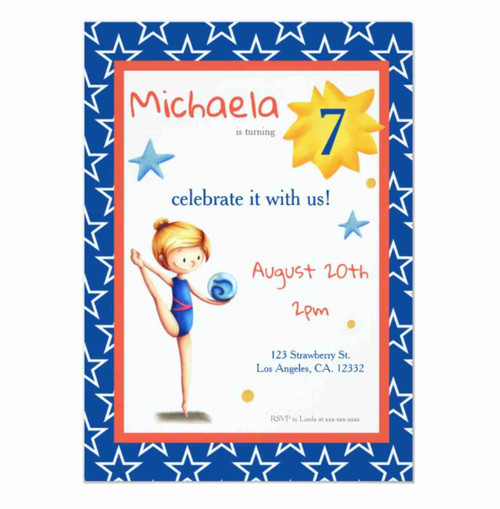 Cute blue illustrated rhythmic gymnastics girl invitation