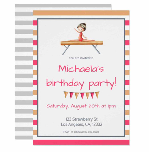 Pink Orange Gymnast on Beam Gymnastics Birthday Invitation