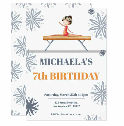 Grey Floral Girl on a Beam Unique Cute Birthday Invitation