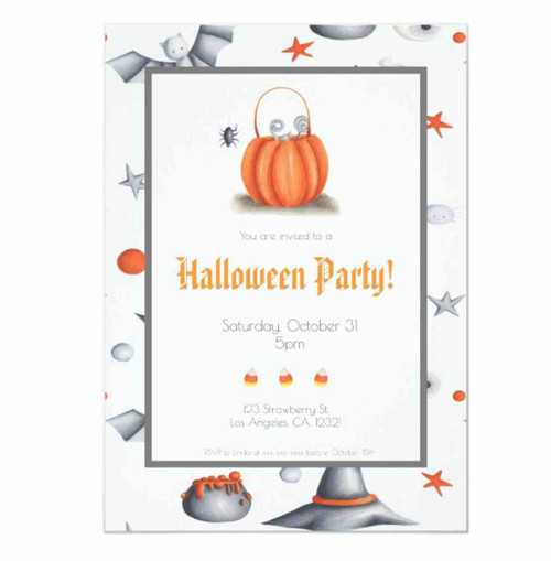 White Cute Candy pumpkin Halloween Party Invitation