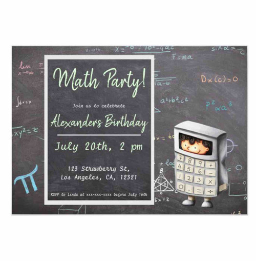 School blackboard math equations and calculator invitation