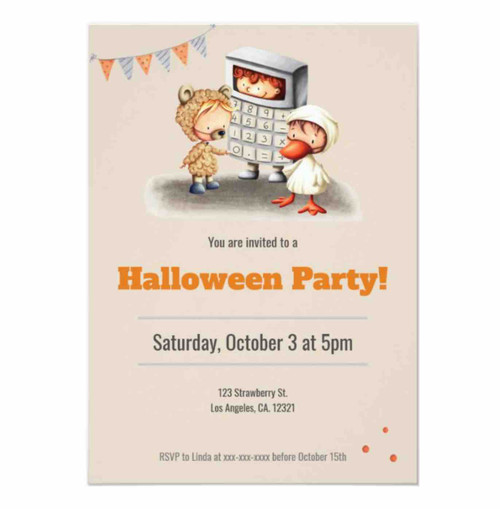 Cute Not Scary Halloween Costume party Invitation