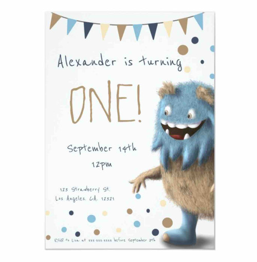 Little furry monster first birthday invitation