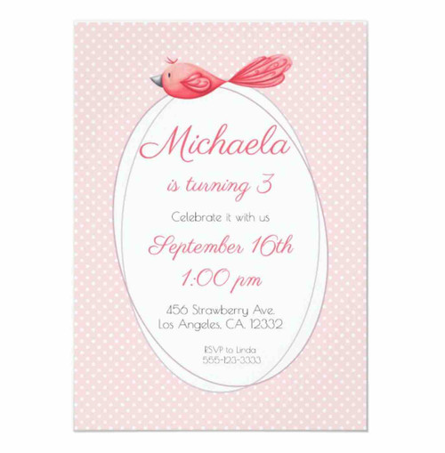 Pink birthday invitation with a pink bird