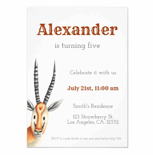 Minimalist African Antilope Neutral Invitation