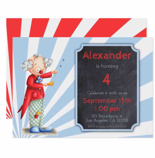 Circus birthday invitation with a clown