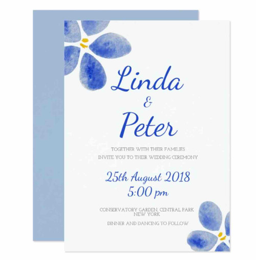 Blue watercolor flower wedding invitation