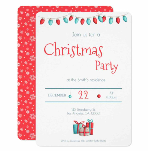 Festive Christmas party invitation in red and teal