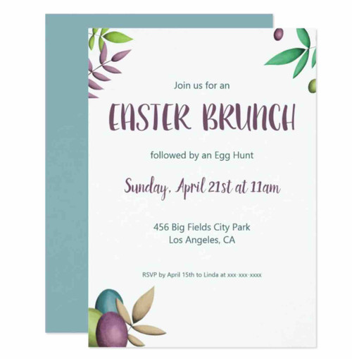 Easter brunch and egg hunt elegant party invitation