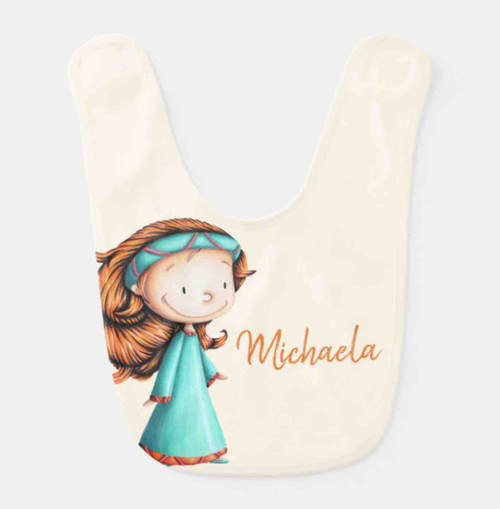 Princess in teal dress personalized baby bib