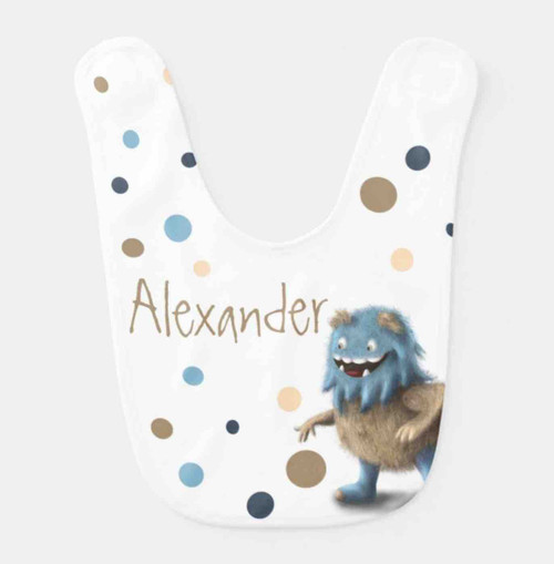 Cute furry monster baby bib