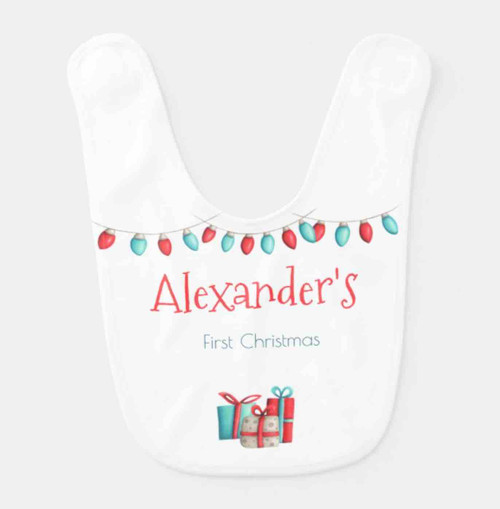Neutral first Christmas baby bib in red and green